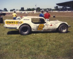 This was one of the most unusual looking cars, I ever saw come out of the Darrell Dake racing stable. It's 1980 in Davenport, Iowa. (Dennis Piefer photo)