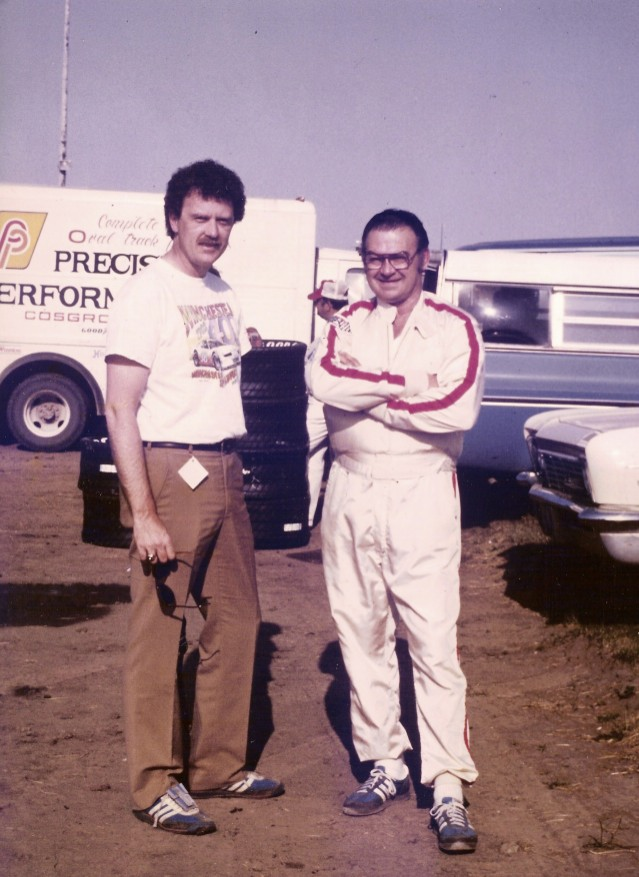 Darrell and I chat at Hawkeye Downs, Cedar Rapids, Iowa - 1983 (Bill Virt photo)