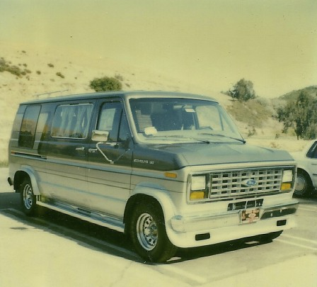 1987 Ford Custom Van.  We hoped to do some trackchasing travel in our van but distances were just too great to cover by the highway.