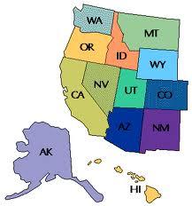Western U.S. map with HI & AK
