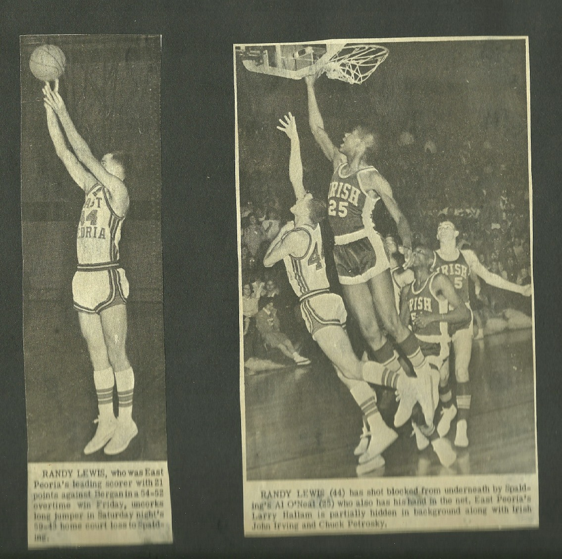 High school basketball action.