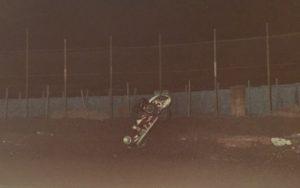 Gene Serrano photo. Tom White flipping at Ascot 9-21-79