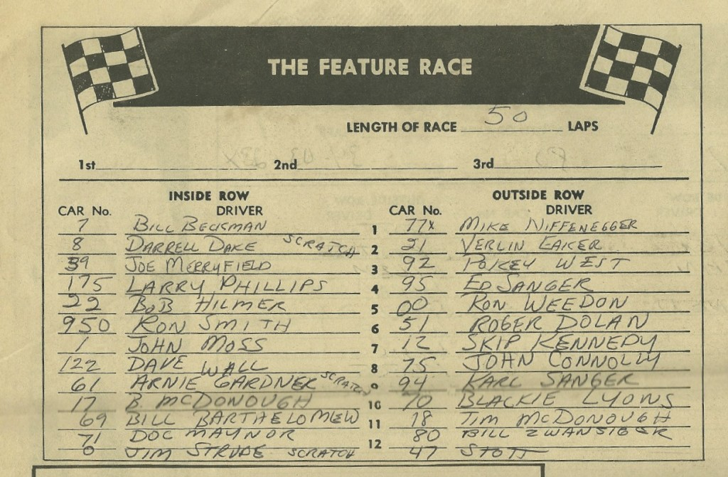 Some of the best racing I ever saw was during the special events on dirt at Hawkeye Downs in the middle of the summer. If you know anything about Iowa racing you'll appreciate a feature lineup like this.