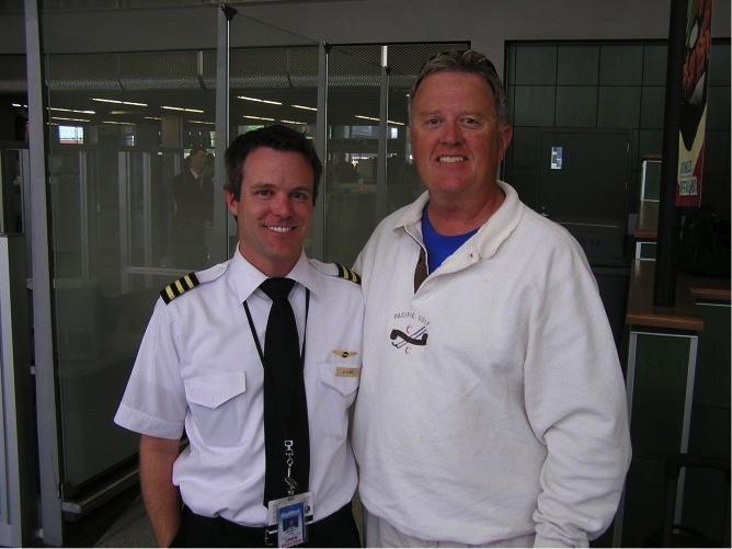 Once in a while I run into our son J.J. in an airport.  That's not too unusual.  He's a commercial airline pilot.  Our paths crossed here in Chicago.