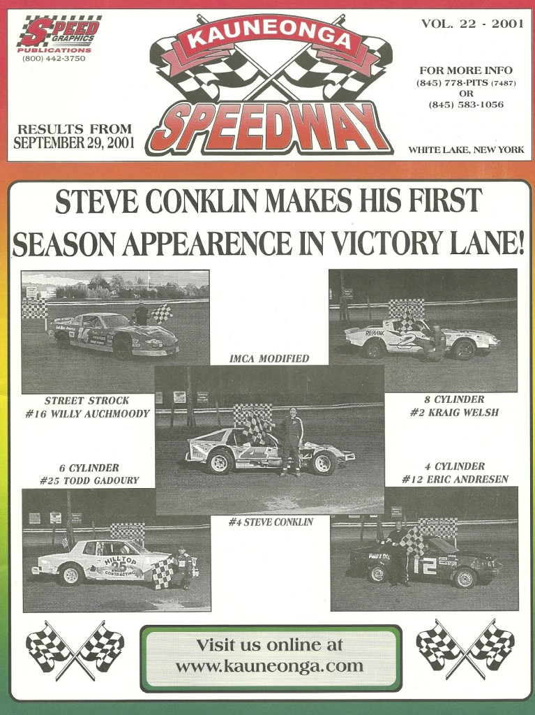 Kauneonga Speedway program 2001