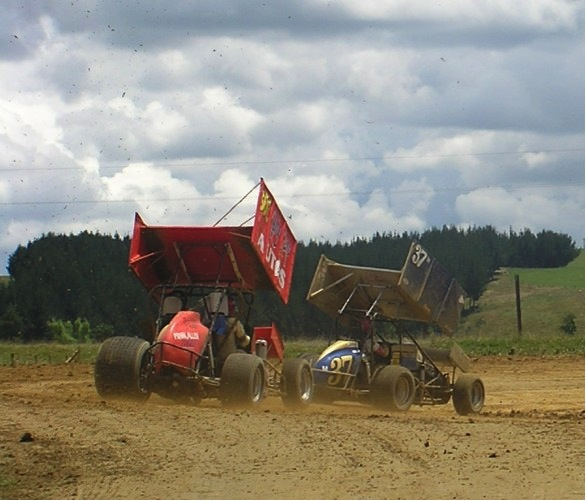 Check it out.  We were actually riding in a real sprint car race.