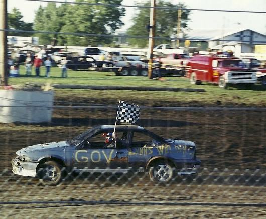 The governor of South Dakota wins this figure 8 race in Parker, South Dakota.