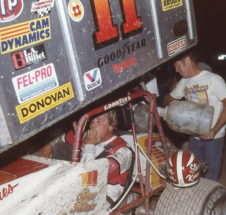 Steve and Karl Kinser were a force in sprint car racing for many years. Karl adds fuel at Hanford.