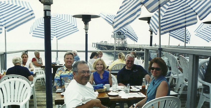 Over the year's we've hosted several racing visitors to San Clemente.  Here journalists Dave Sully, wife Marcia and Dave Roberts enjoy lunch at the San Clemente beach.