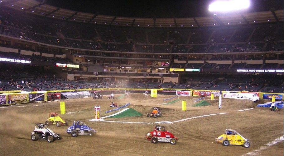 I've seen racing at several stick and ball sport stadia.  This was racing at Angels Stadium in Anaheim, California.
