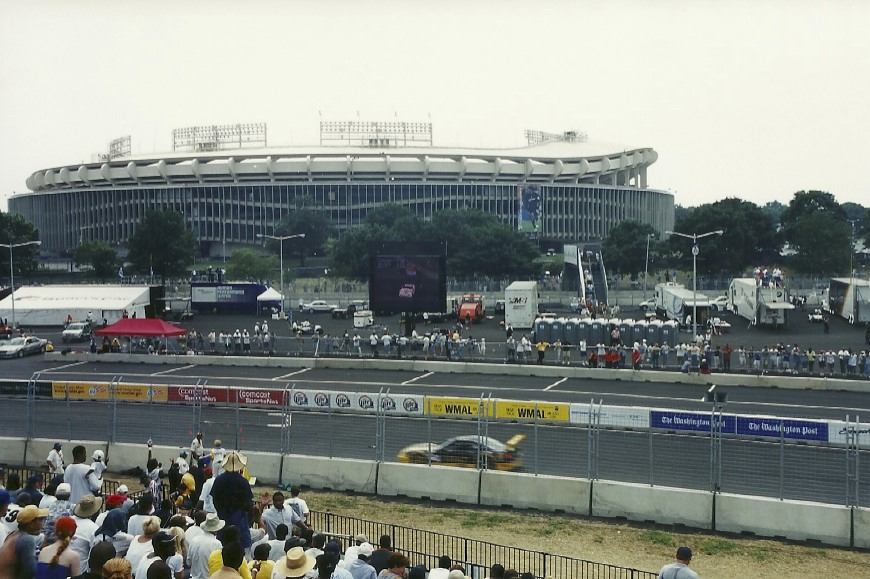 Only a handful of track chasers have seen racing in Washington, D.C.  That's RFK Stadium in the background.