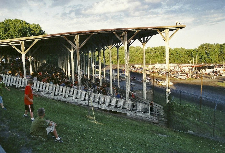 I love the old covered grandstands like this one in Webster City, Iowa.