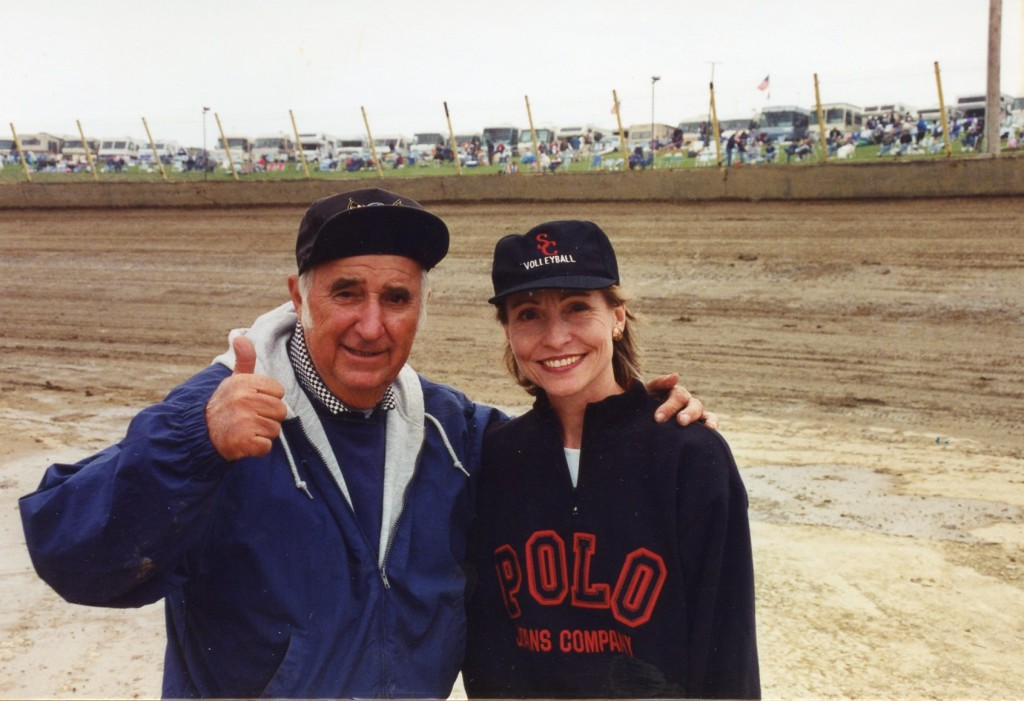 Carol knows enough to go to the top! Here's her buddy Earl Baltes famous builder and promoter of the Eldora Speedway.
