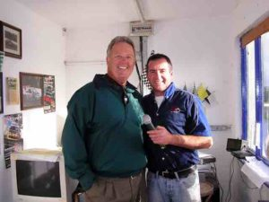 Morris, the track announcer, wraps up his trackchasing interview with me.