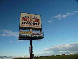 devils lake speedway sign