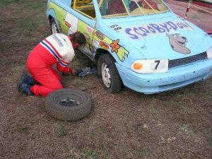 David had to change two tires and barely made it to the track on time.