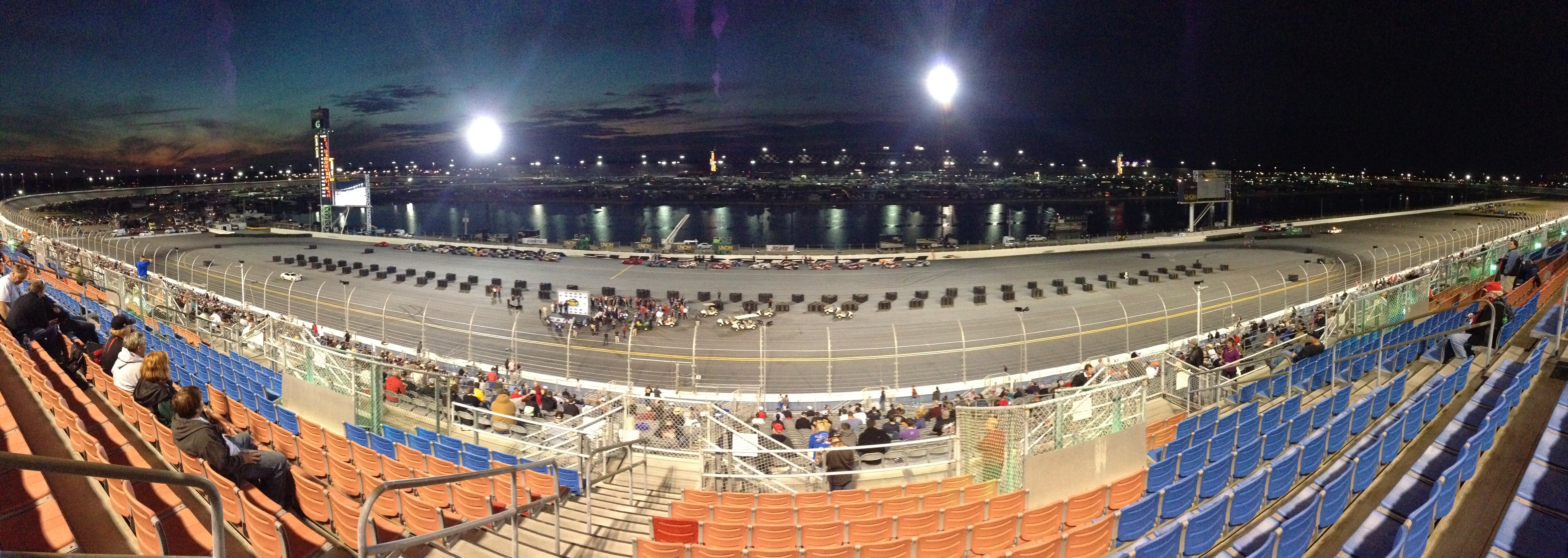 "The panoramic view of the Daytona ""backstretch"" oval."