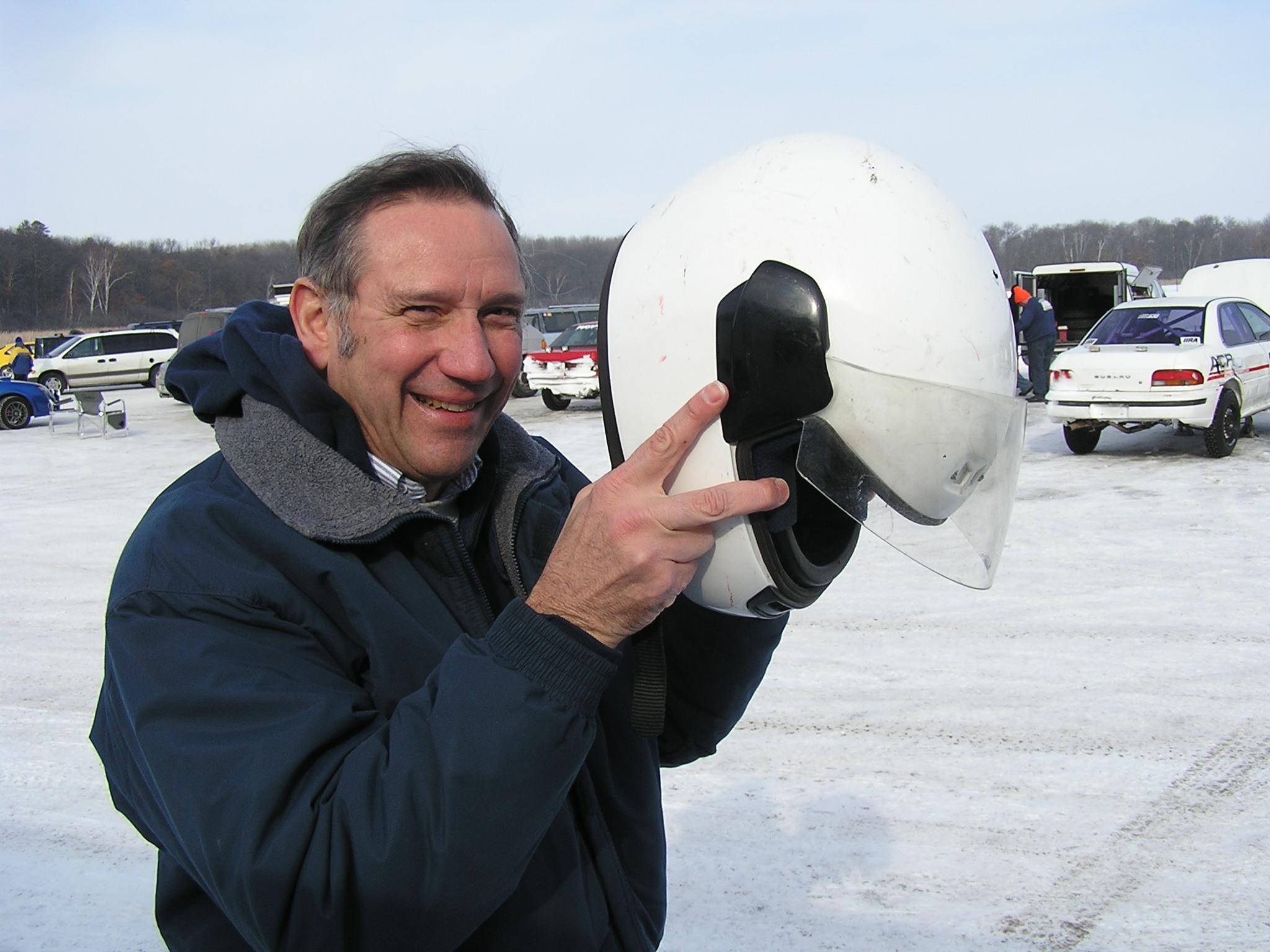 Ed prepares for his ice racing ride along in Brainerd, Minnesota.
