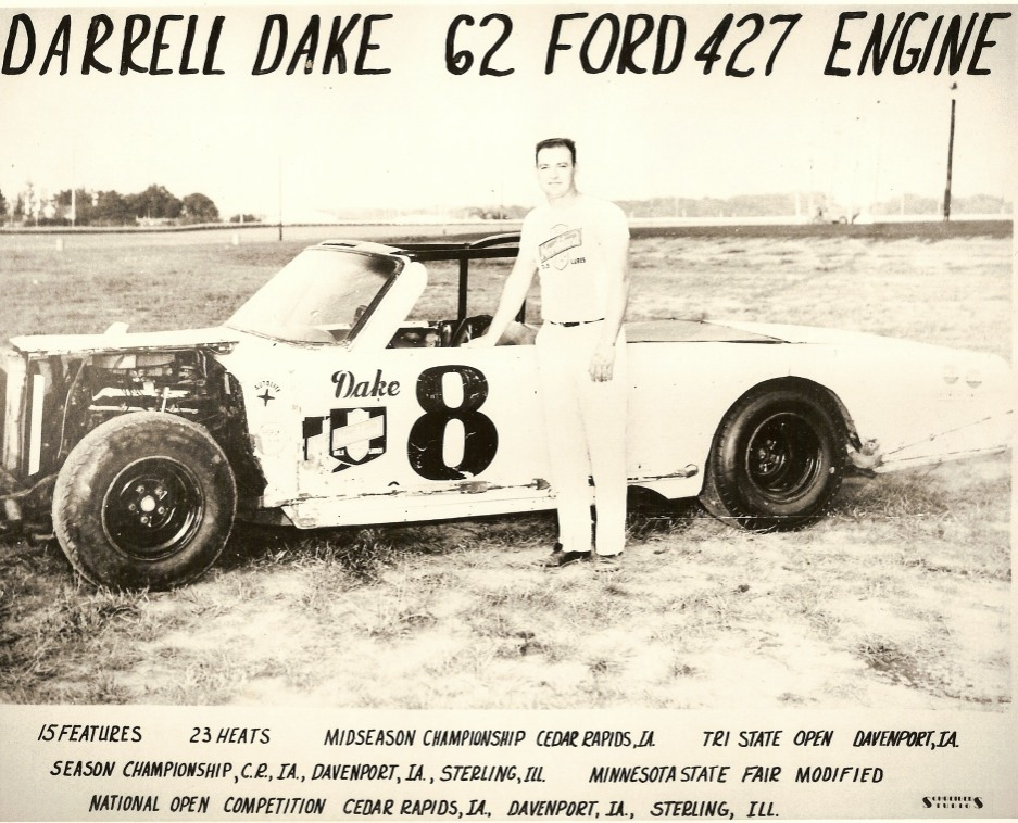 This is my most cherished photo of Darrell Dake in my collection. This is the first car I ever saw Darrell drive. This would have been during the 1967-69 period. He won feature after feature at the Sterling Speedbowl in this 1962 Ford. This photo is my favorite because Darrell gave it to me many years after I first saw him racing this car.