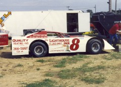 The 1992 season was Darrell's last year of racing. The Lighthouse Inn sponsored car raced on this night at West Liberty. Darrell was often in the stands watching races at West Liberty after he retired. I met him there one night.