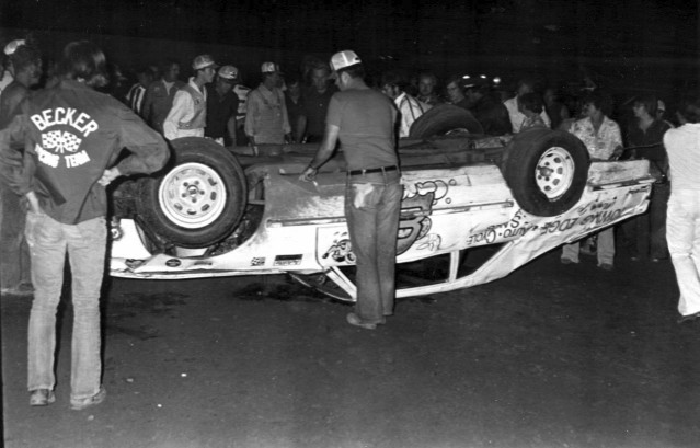 This was probably Darrell's most serious accident. He was away from racing for some time following this wreck. (Kyle Ealy collection, Hawkeye Racing News)