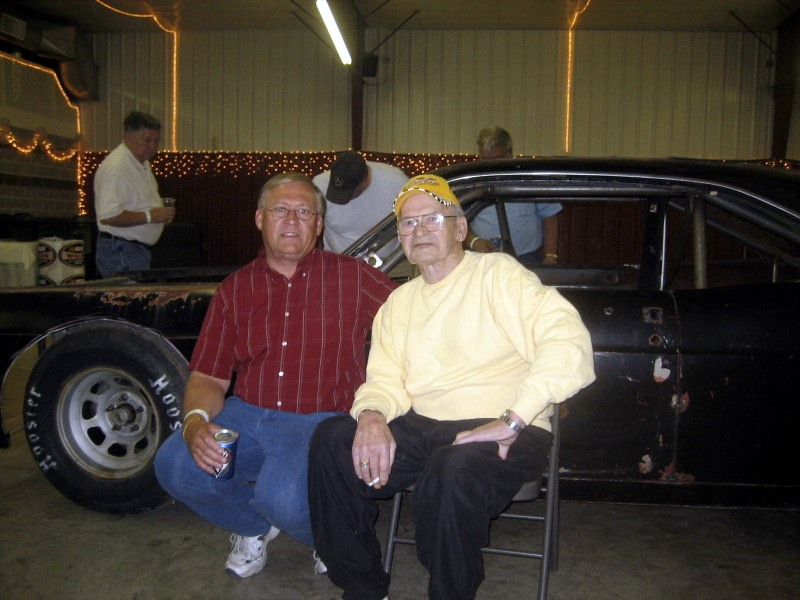 "Longtime crew member Vern Naley and Darrell spent some time together in front of the vintage Ford Fairlane being prepared just like the one ""Double D"" made famous. (Vern Naley photo collection)."