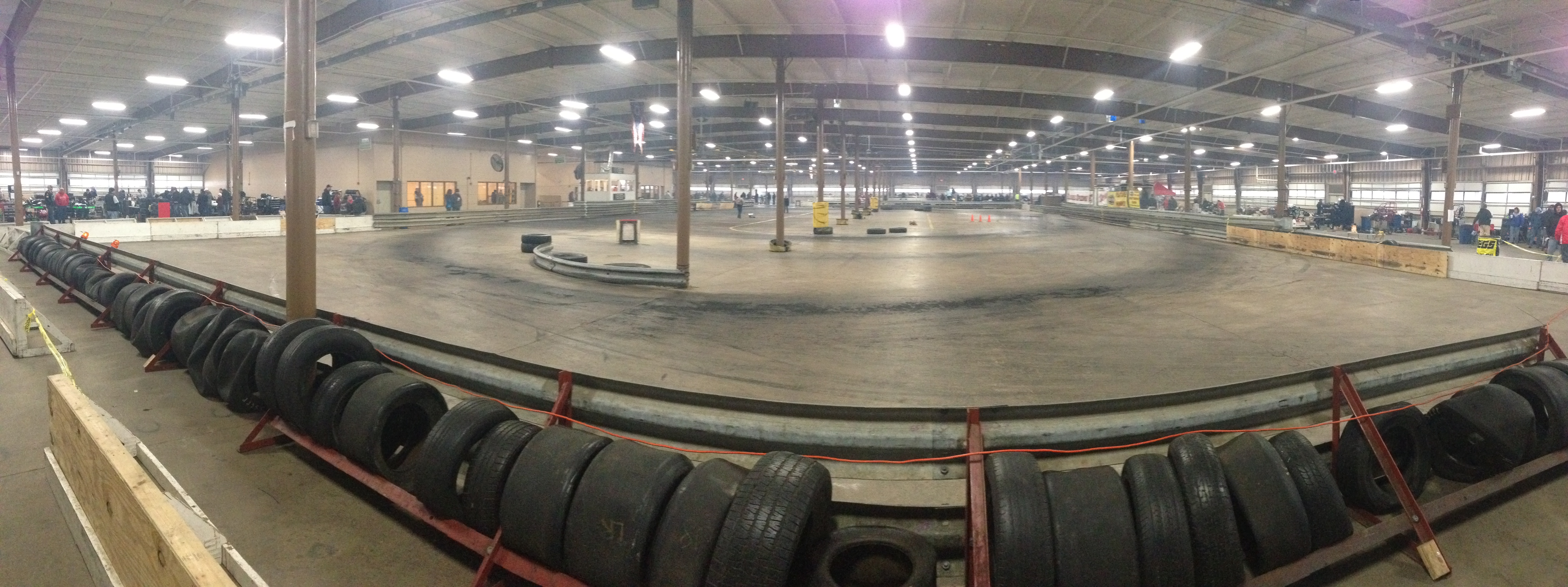 The panoramic view of today's flat concrete oval.