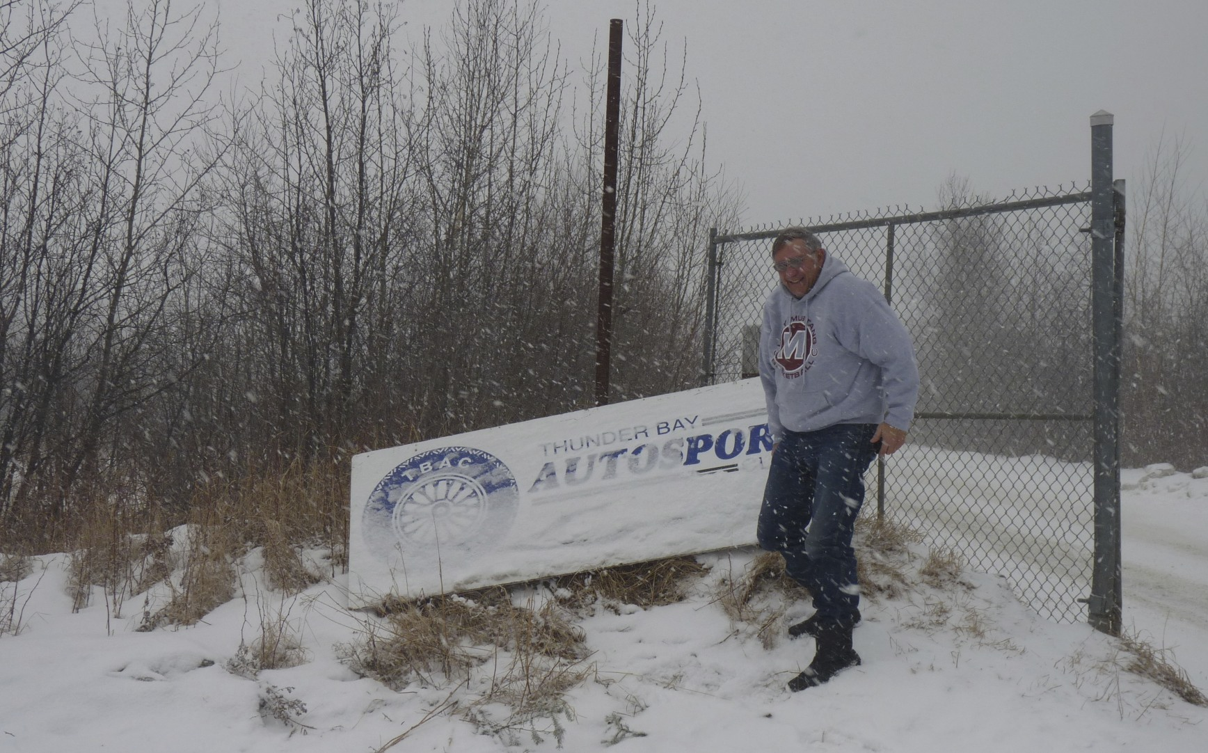 """Just as we entered the track Ed stood out in the cold and wind to get a """"souvenir"""" photo of his first ever Canadian trackchasing visit."""
