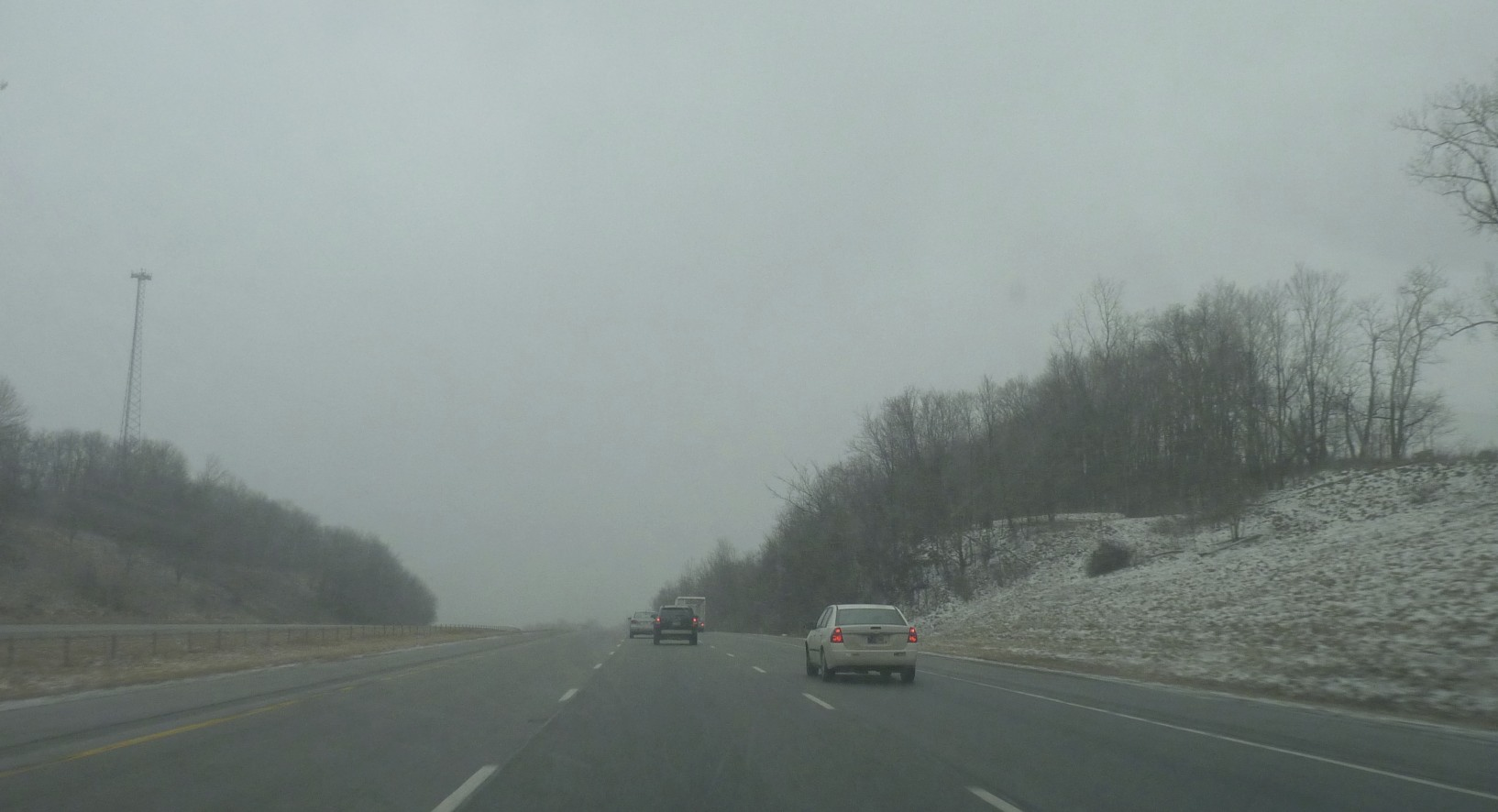 It was a long snowy drive after the races.