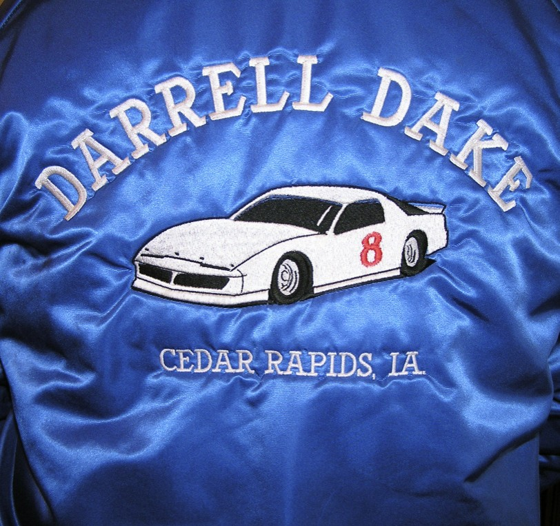 I had this jacket made many years ago in Northern California. For the life of me, I can't remember why I bought a blue jacket when Darrell raced red and white cars. Every time I wore this jacket whether it was in Iowa, Ohio or Florida people would come and ask me about Darrell Dake.