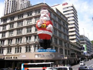 New Zealand celebrates Christmas during their summer. The stores all had their best Christmas displays up.