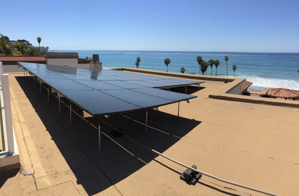 This is what a 38-panel solar electric system looks like on our roof.