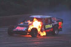 Boone County Raceway car on fire