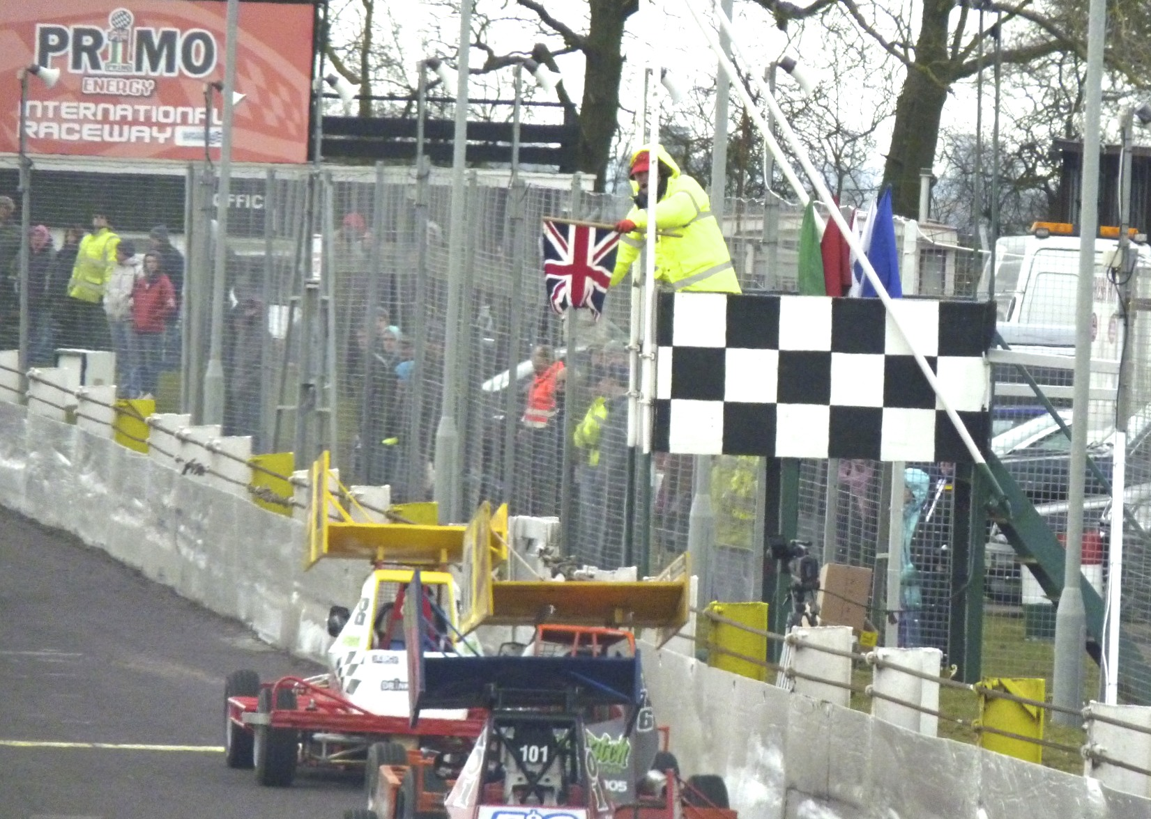 It's mid-race with the Union Jack flag.