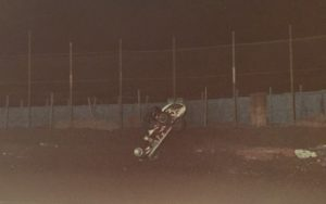 Gene Serrano photo. Tom White flipping at Ascot 9-21-79