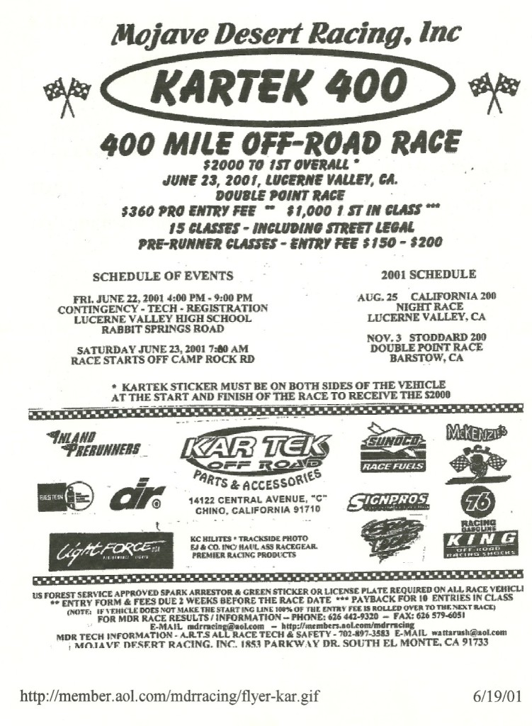 "Eastern track chasers have missed the boat on desert off-road racing.  This event prompted one of the several ""Randy Rules"" that are now part of trackchasing's ""guidelines""."