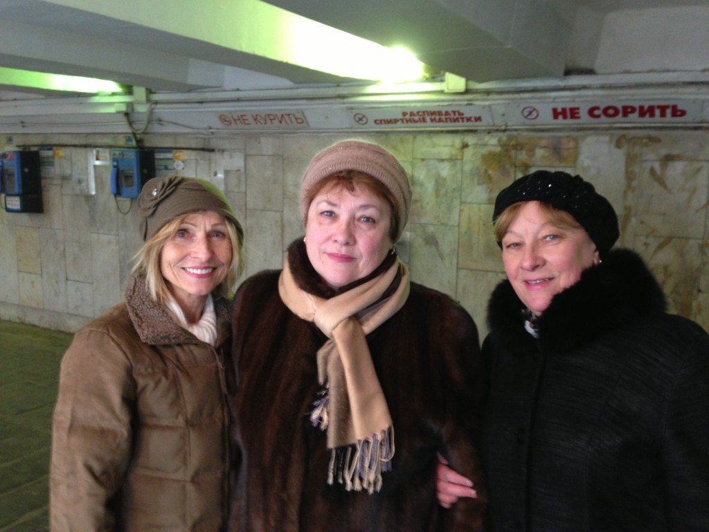 On the way to the track in Moscow, Russia these two Russian ladies helped Carol pick out a winter hat.