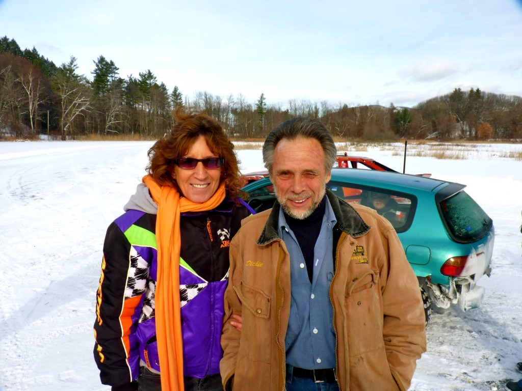Linda & Dickie, the first couple of Vermont racing at Puffers Pond site of my first ever ice racing figure 8 track.