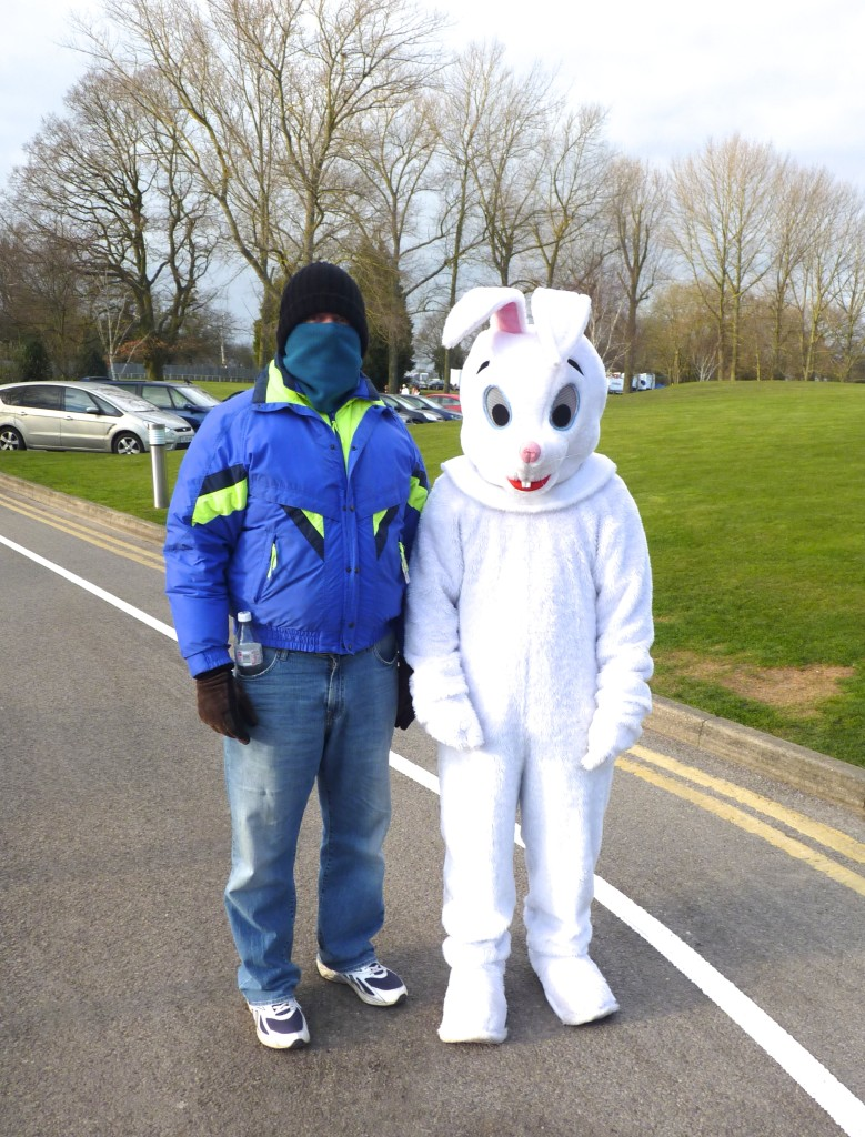 A cold day with the Easter Bunny at Brands Hatch.