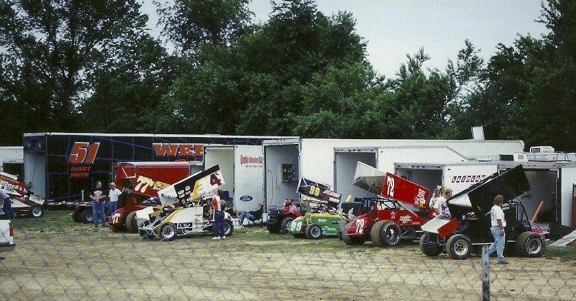 Sprint car special - pit area of the Sixty-Seven Raceway Park