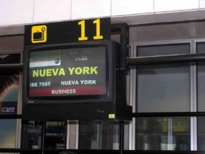 new york airline gate sign
