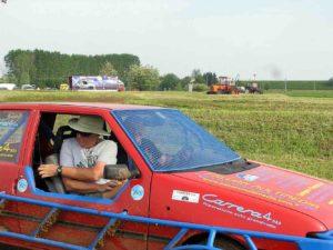 randy in italian racecar
