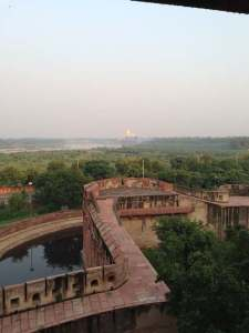 Agra fort view of taj mahal