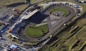 Aerial photograph of a motor race taking place at Buxton Raceway in Buxton Derbyshire England UK