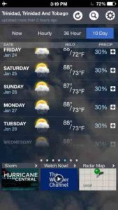 T&T weather forecast