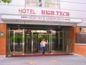 Here's a young American tourist enjoying her stay at the Hotel High Tech.