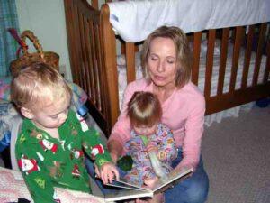 Grandma likes to read stories.