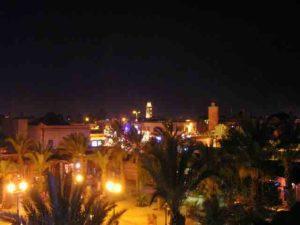 Night has fallen on the medina of Marrakesh.