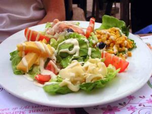 Have you ever seen such a large and colorful salad.