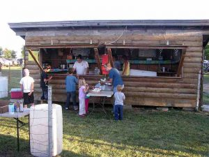 """I liked the log cabin """"motif"""" of the track concession stand."""